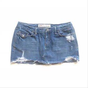 Hollister Button Fly Distressed Denim Mini Skirt